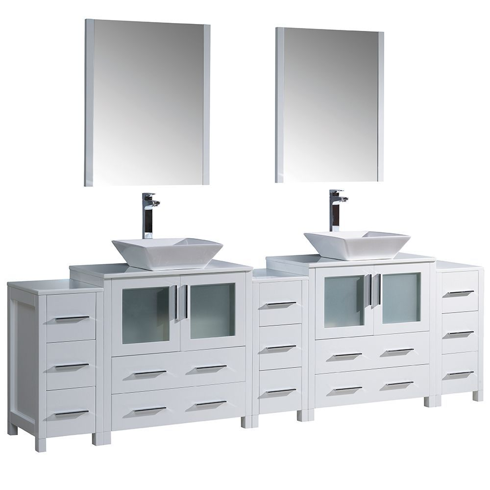 Fresca torino 96 inch white modern double sink bathroom vanity with 3 side cabinets and