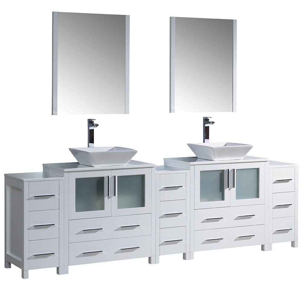Fresca Torino 96 Inch White Modern Double Sink Bathroom Vanity