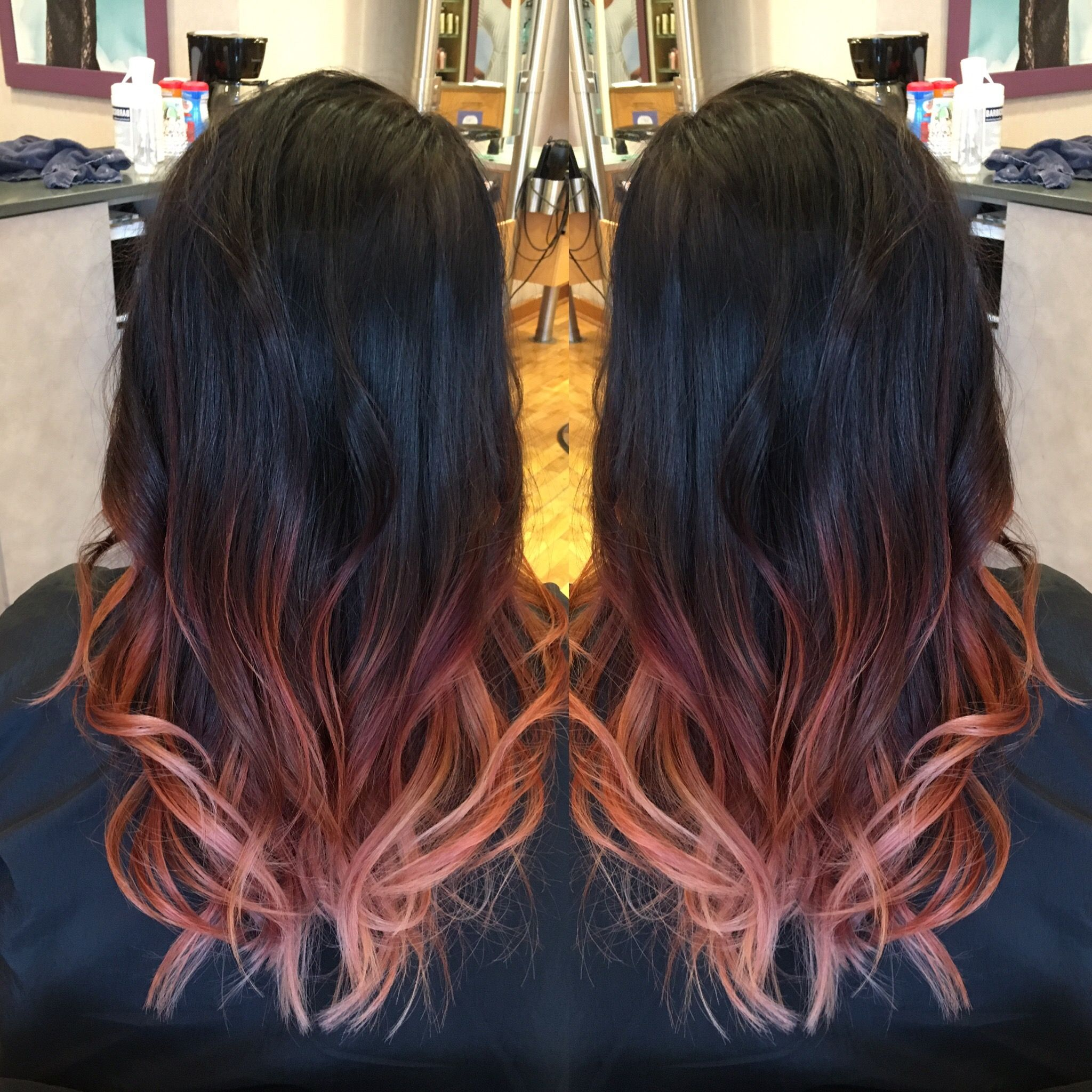 black hair and rose gold ombre