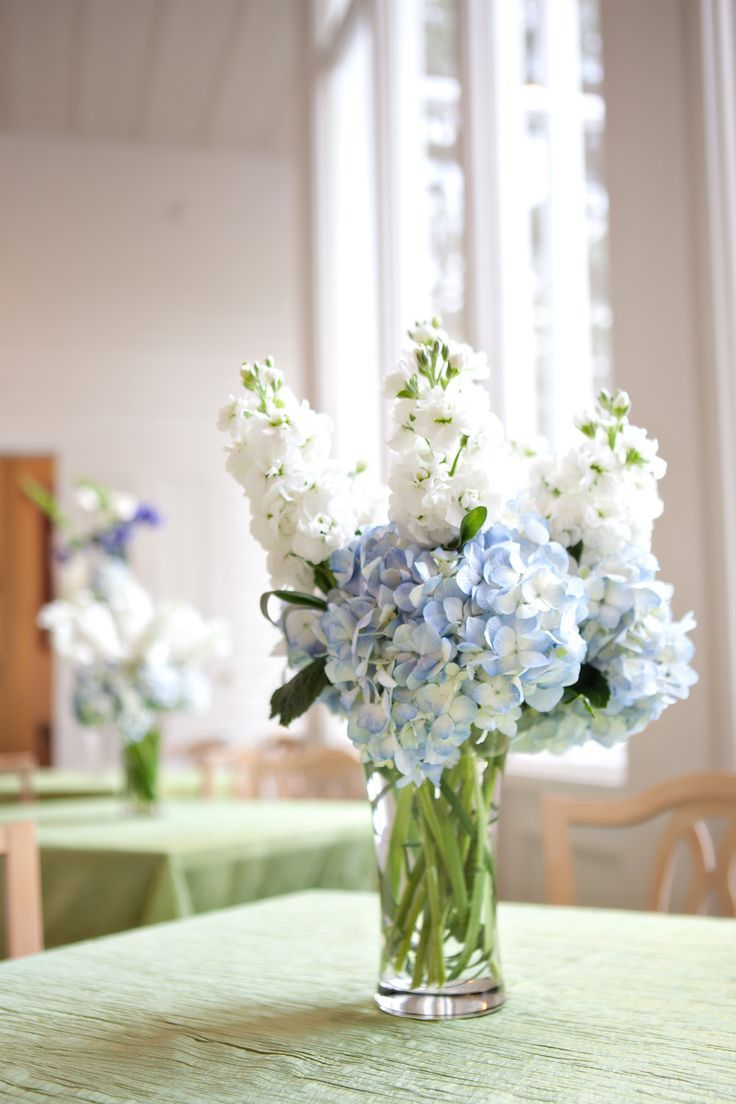 wedding flowers blue hydrangias | Blue hydrangea small centerpiece ...