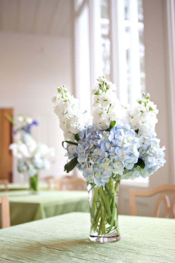 wedding flowers blue hydrangias | Blue hydrangea small centerpiece ...