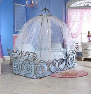 Cinderella Canopy Twin Bed Frame This Great Metal Bed Featured With A White Gold Fini With Images Kids Bedroom Furniture Sets Princess Carriage Bed Carriage Bed
