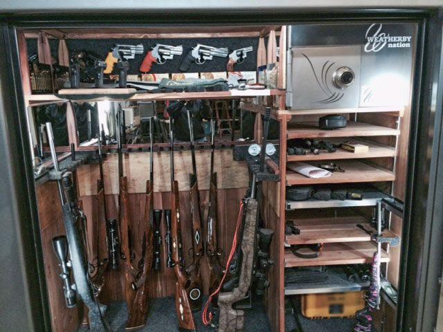 Custom gun safe interior with LED lighting, oak shelving, gun ...