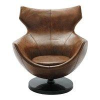 Fauteuil de salon cuir vintage marron Jupiter