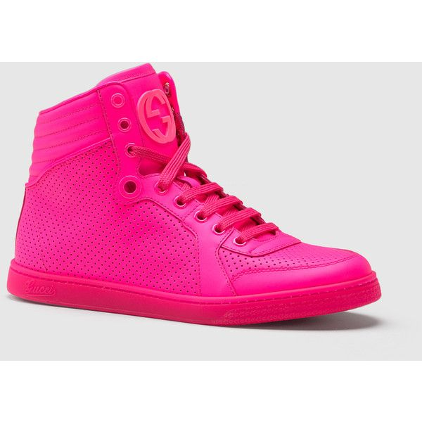 02265dc58a83 Gucci Coda Neon Pink Leather Sneaker ( 295) ❤ liked on Polyvore featuring  shoes