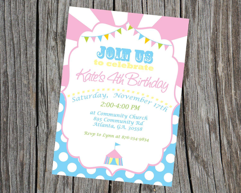 Carnival Invitation Circus Invite Carnival Party Invitation Circus ...