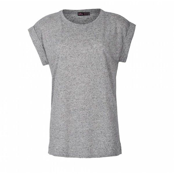 Ally Fashion Marl roll sleeve tee ($9.03) ❤ liked on Polyvore featuring tops, t-shirts, relaxed fit tops, rolled sleeve t shirt, relaxed fit t shirt, basic tee and relax t shirt