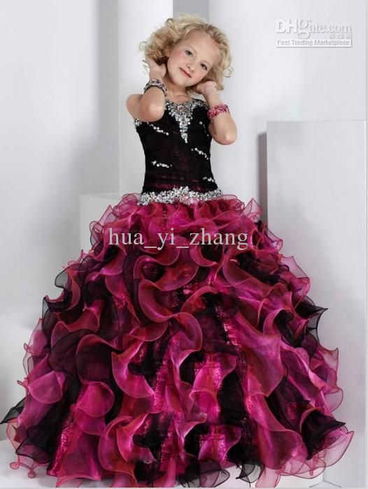51aae5ec69 Wholesale Black Burgundy Ball Gown Little Girl Pageant Dresses Sweetheart  Beaded Tiered Organza Dress 13320