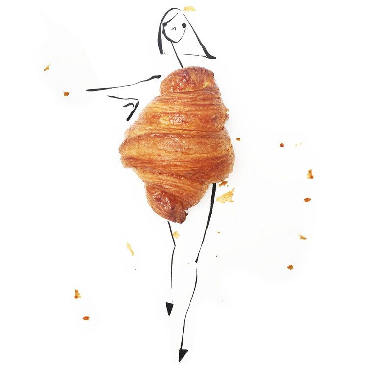 croissant / Artwork by @gretchenroehrs / fashion illustration /