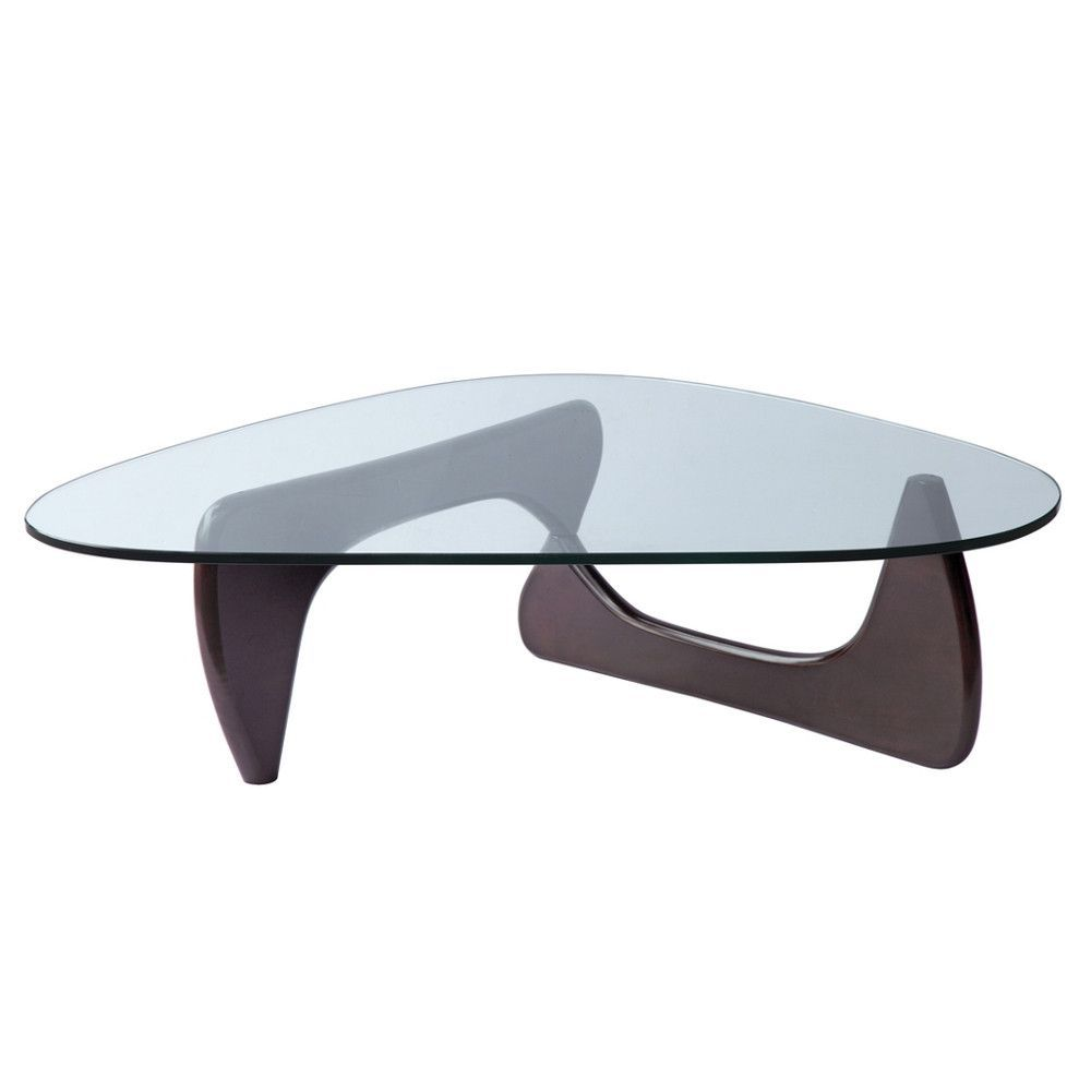 Couchtisch Noguchi Isamu Noguchi Style Triangle Wood And Glass Coffee Table With Dark