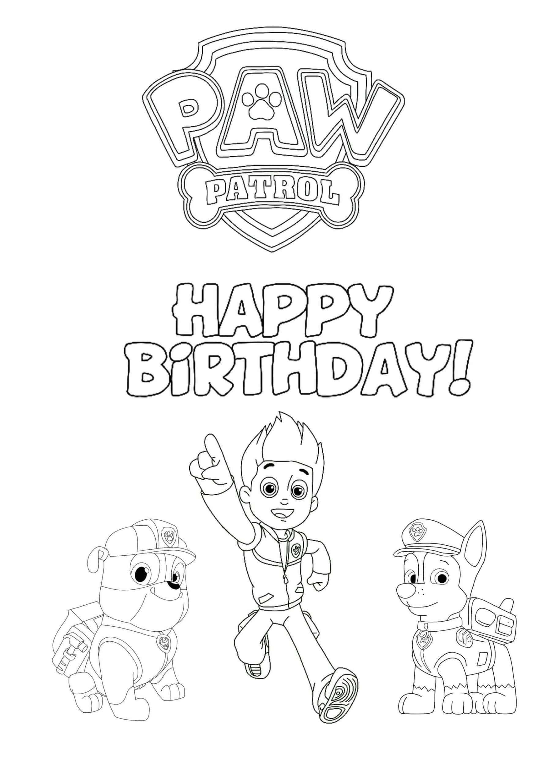 Paw Patrol Happy Birthday coloring page  Birthday coloring pages