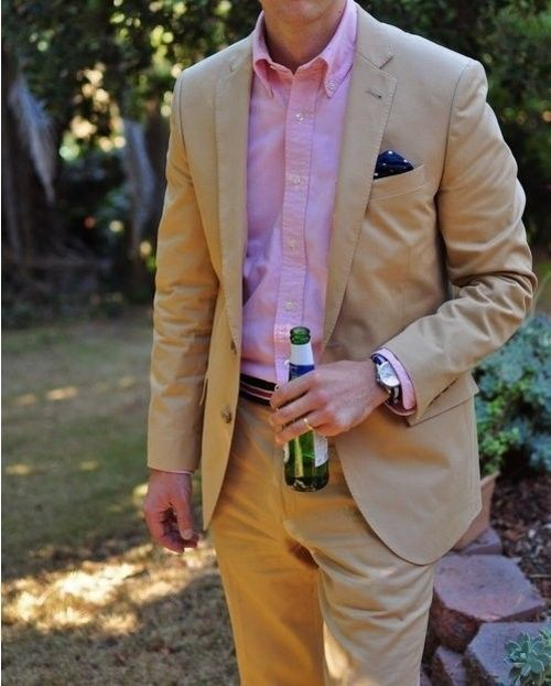 Men 39 S Tan Blazer Pink Long Sleeve Shirt Khaki Dress