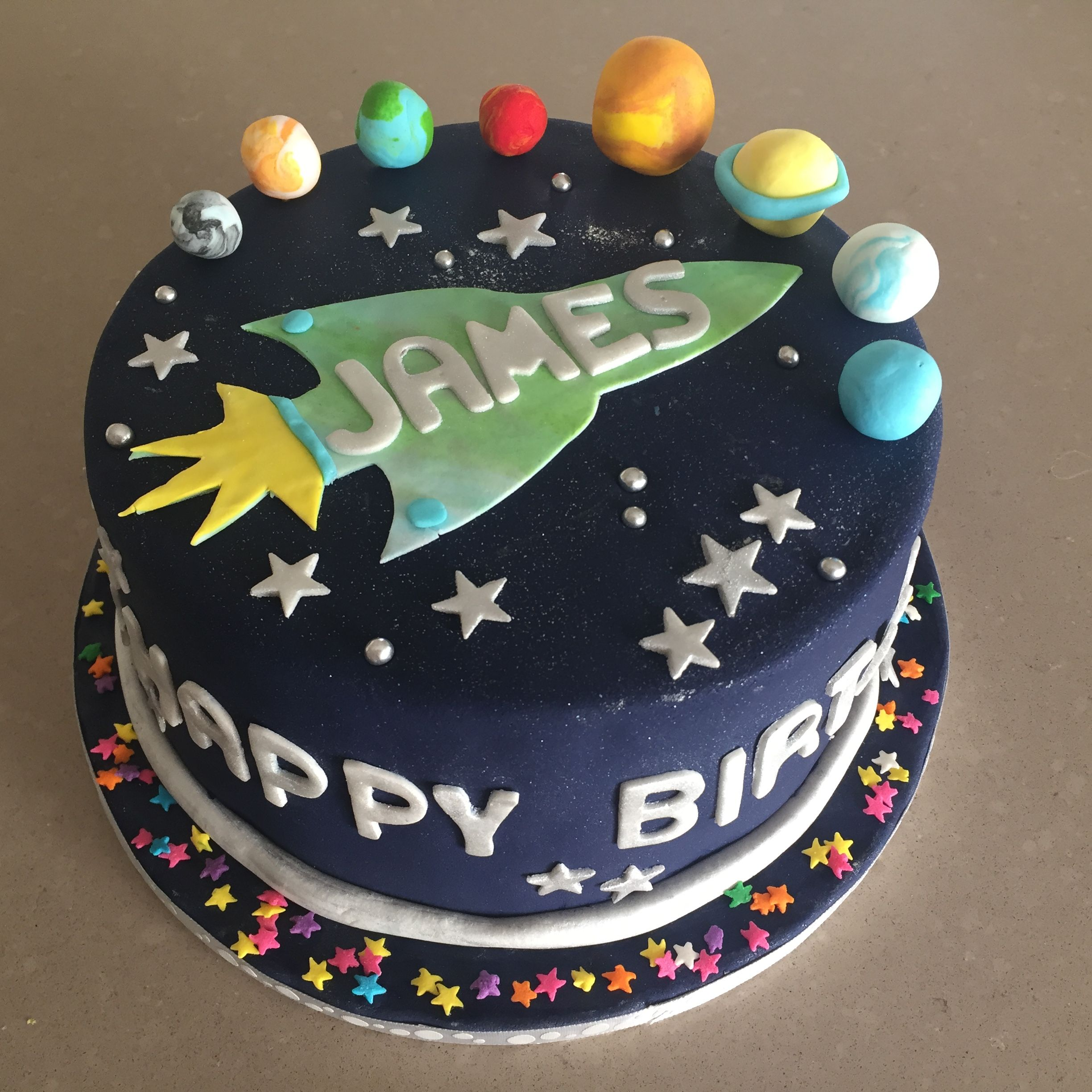 Pleasant Outer Space Birthday Cake With Images Outer Space Birthday Funny Birthday Cards Online Sheoxdamsfinfo