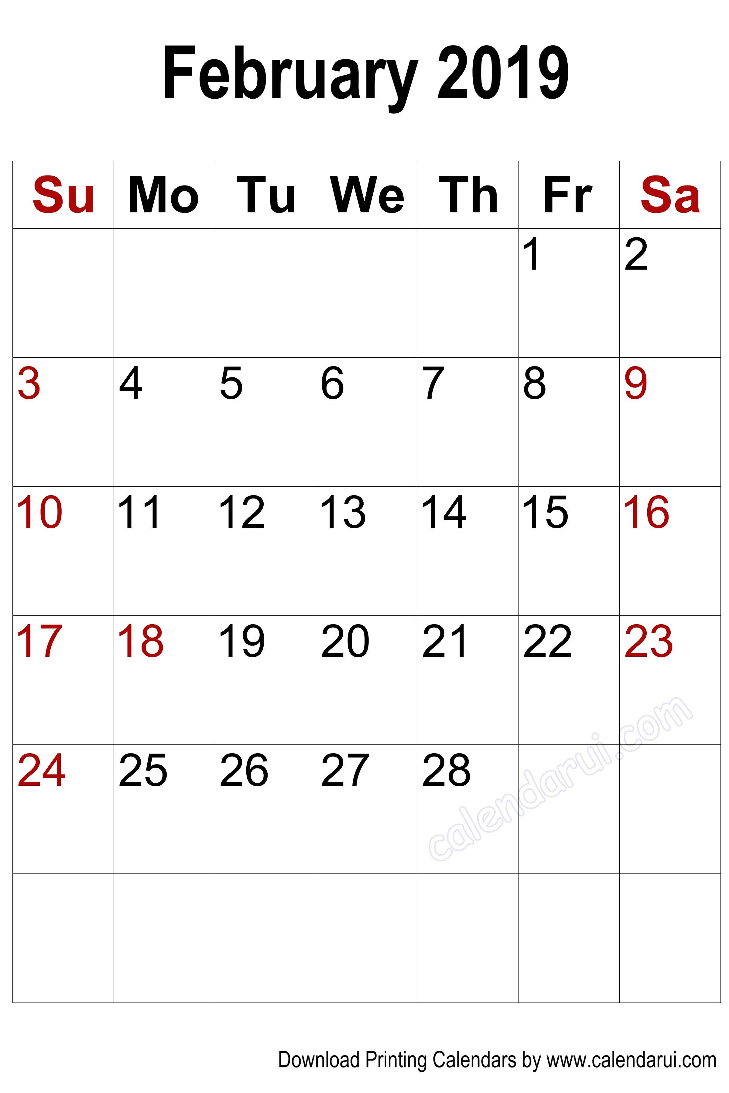 vertical blank february 2019 calendar printable