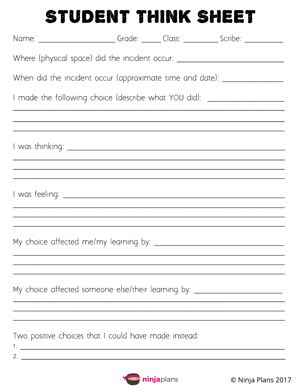 Student Think Sheet Resource Preview