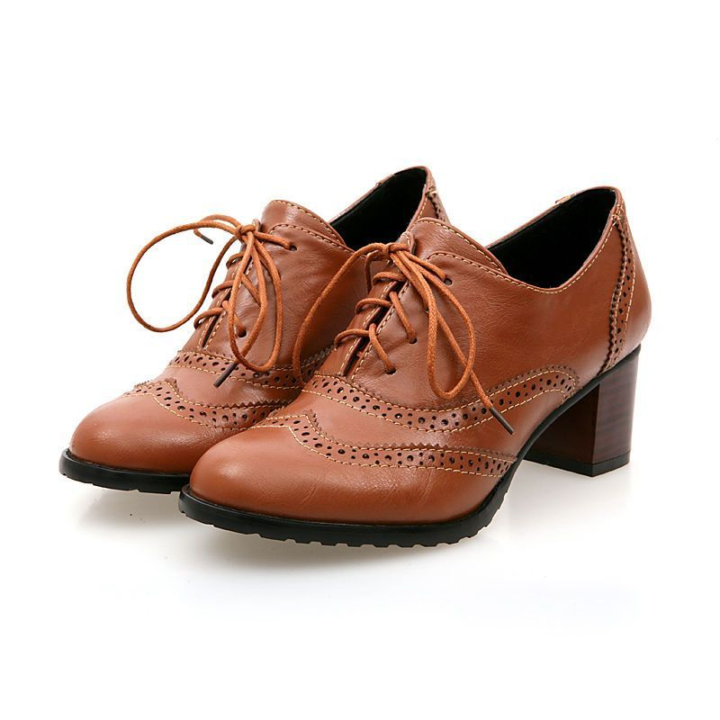 Womens Oxford Pump Mid Heel Lace Up Ankle Boot Hollow Out dress Shoes Plus Size