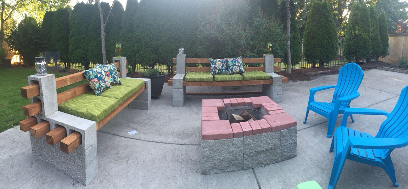 DIY Cinder block bench & Fireplace! | Cinder block bench ... on Diy Cinder Block Fireplace id=12545