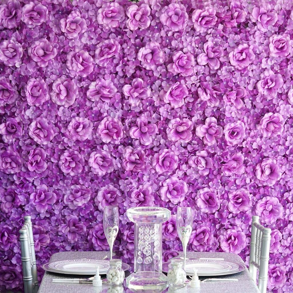 4 Pack 11 Sq Ft Uv Protected 3d Purple Silk Rose Hydrangea Flower Wall Mat Panel Flower Wall Backdrop Silk Roses Hydrangea Flower