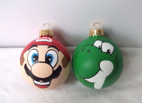 Super Mario Yoshi Hand Painted Ornament Set Nintendo by GingerPots, $30.00 - Super Mario Yoshi Hand Painted Ornament Set Nintendo By GingerPots