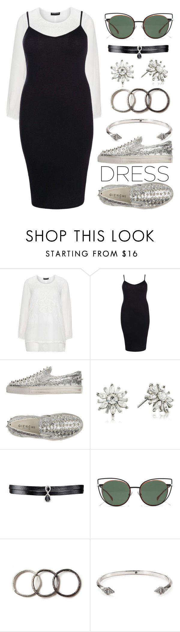 """""""Street Style - Fall Look: Plus Size Dresses"""" by may-calista ❤ liked on Polyvore featuring Samoon, Boohoo, GIENCHI, Carolee, Fallon, Fendi, Pearls Before Swine, House of Harlow 1960, StreetStyle and Fall"""
