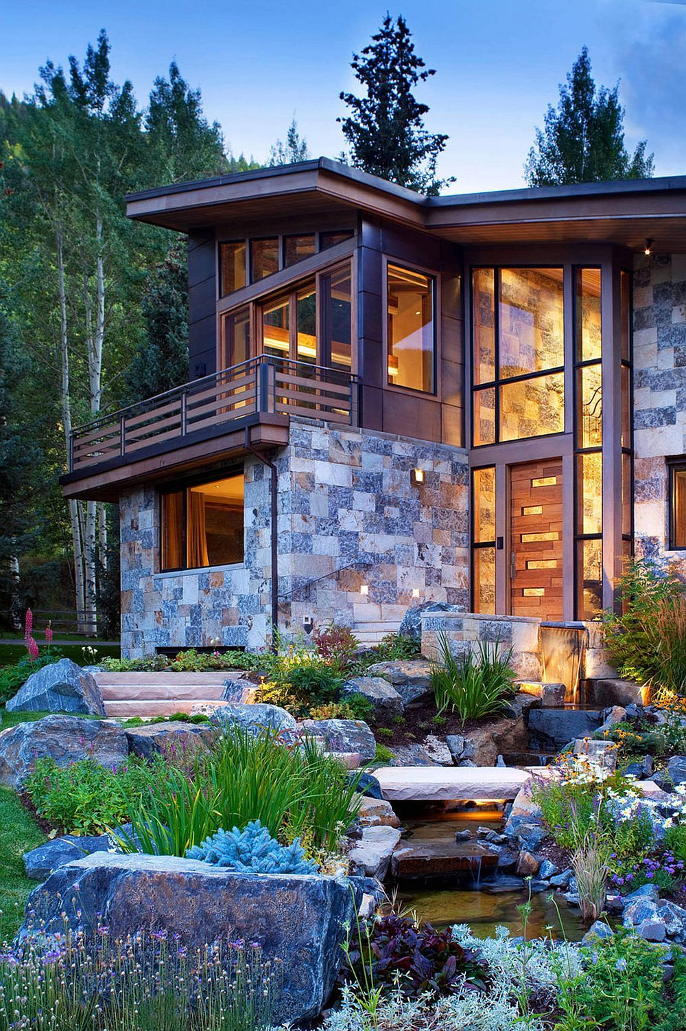 Copper roof and natural dry stack stone give