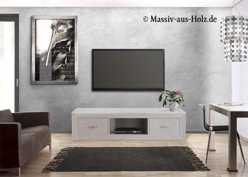 Weißer Fernsehschrank In Modernem Design Www.massiv Aus Holz.de # Wohnzimmerschrank