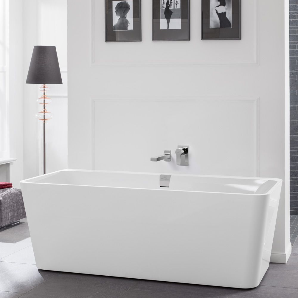 Villeroy & Boch Squaro Excellence Duo freistehende Badewanne weiß ... | {Freistehende badewanne grundriss 67}