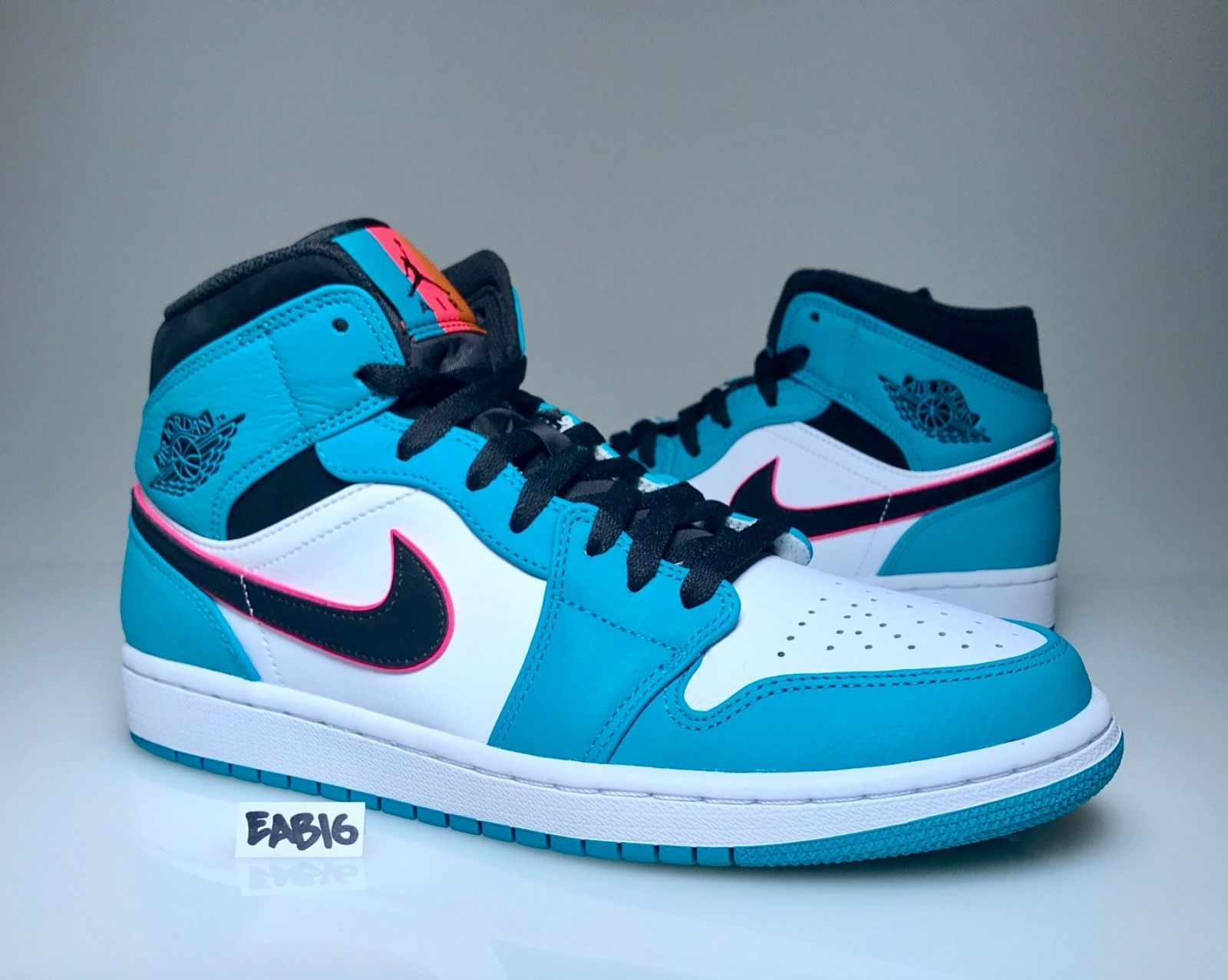 new styles f1991 05a7e Nike Air Jordan 1 Mid SE Riverwalk South Beach Turbo Green Black Pink  852542 306