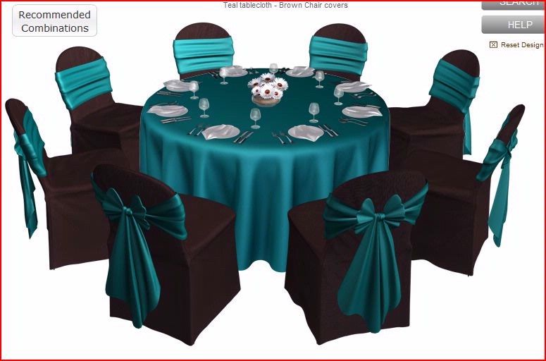 Brown And Teal Wedding Ideas: Teal On Black Chair Covers