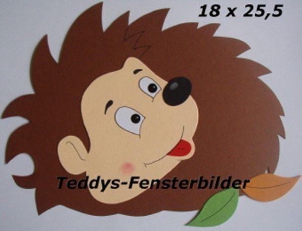 Teddys Fensterbilder 512 Herbst Igel 2 Tonkarton Fensterbilder Fensterbilder Herbst Tonkarton