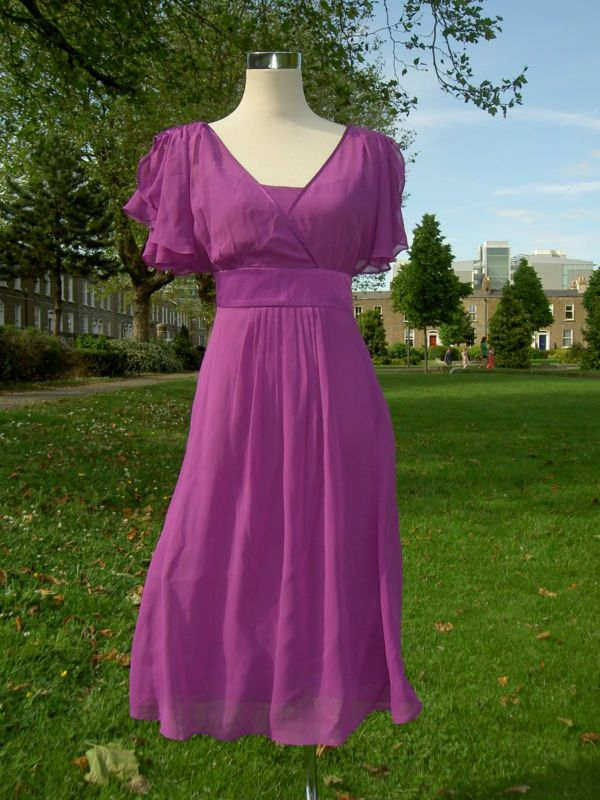 MONSOON PURE 100% SILK Magenta Pink Purple Dress UK 12 EU 40 Robe ...