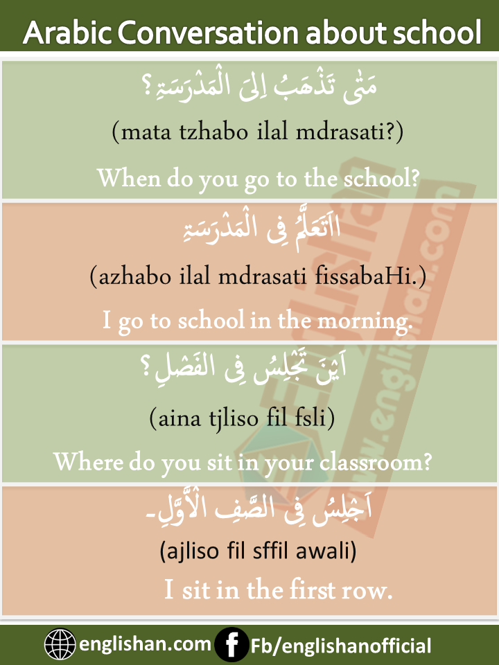Arabic English Conversation About School And Studies With Pdf Arabic Conversation Learning Arabic Learn Arabic Language