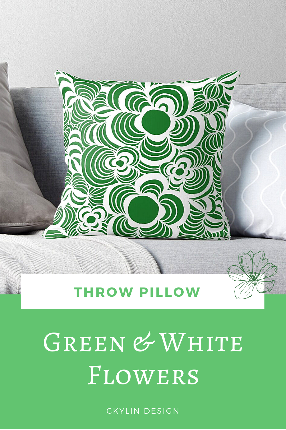 Throw pillow with a green and white floral pattern is now available in my online store over at Redbubble. This design is inspired by all the flowers blooming around us. Perfect for summer! Maybe this design pillow is perfect for the hammock?  #throwpillow #pillowdesign #flowerpattern #pillowlove #flowerlove #pillowfight #homedecor #couchinspo