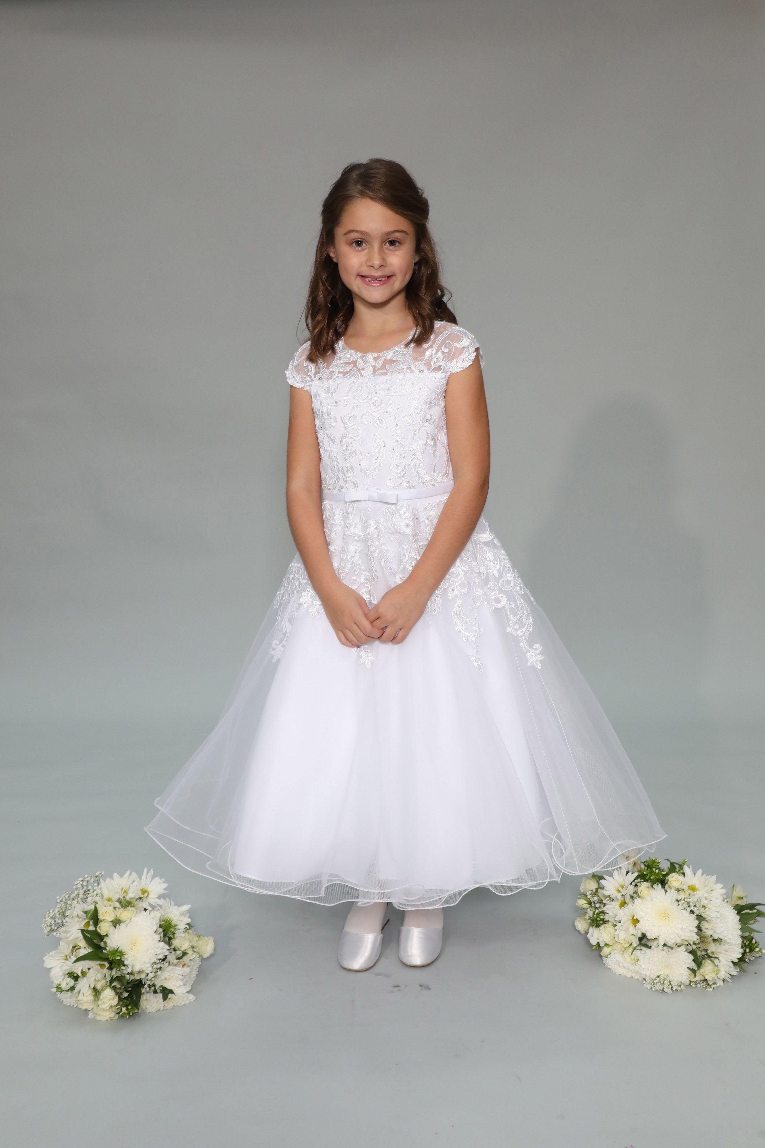 ecc66b13193 Big Girls Ivory Shiny 3D Lace Bodice Mesh Skirt Junior Bridesmaid Dress 8-14