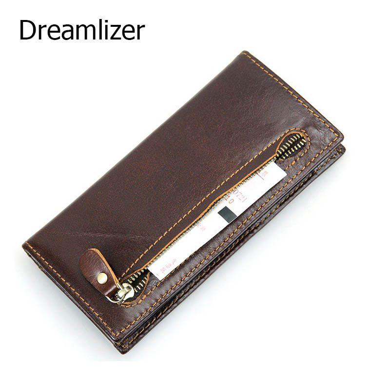 Retro Genuine Leather Mens Billfold Wallet Card Holder Zipper Coin Purse Cowhide