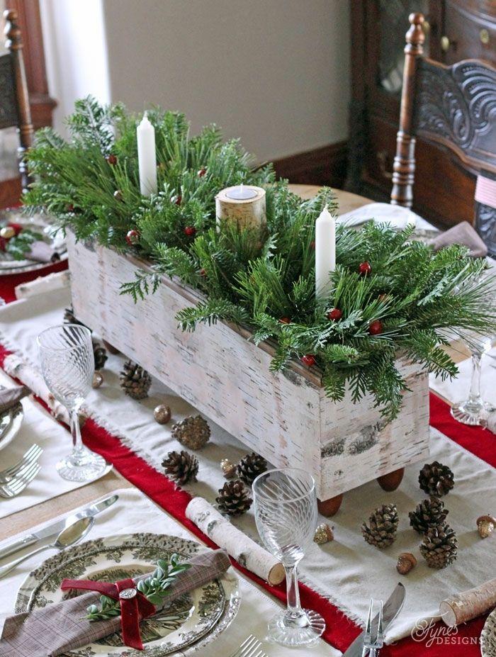 centro de mesa navideño, macetero DIY de madera, pintado en blanca