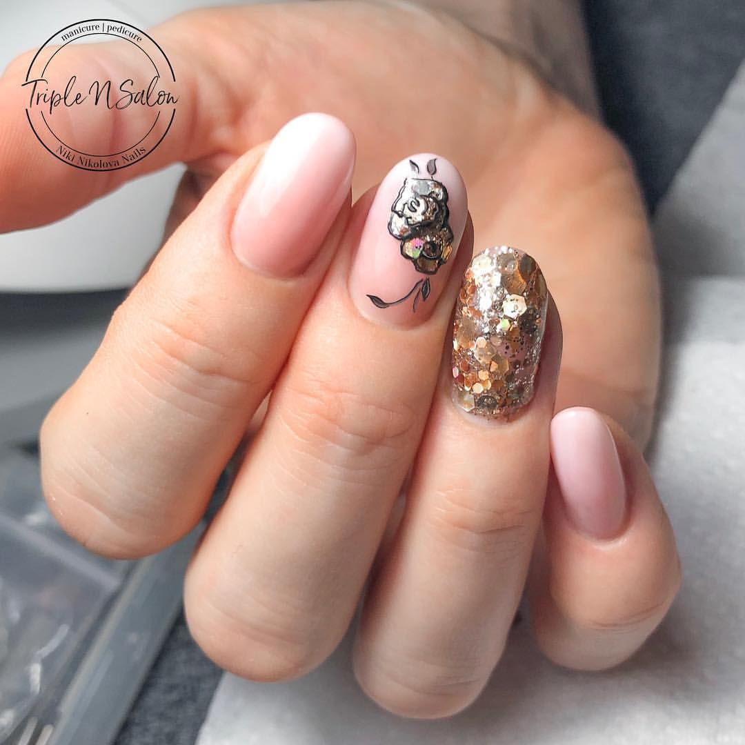 Acrygel Extensions With Gel Polish Ombre And Nail Art On Top