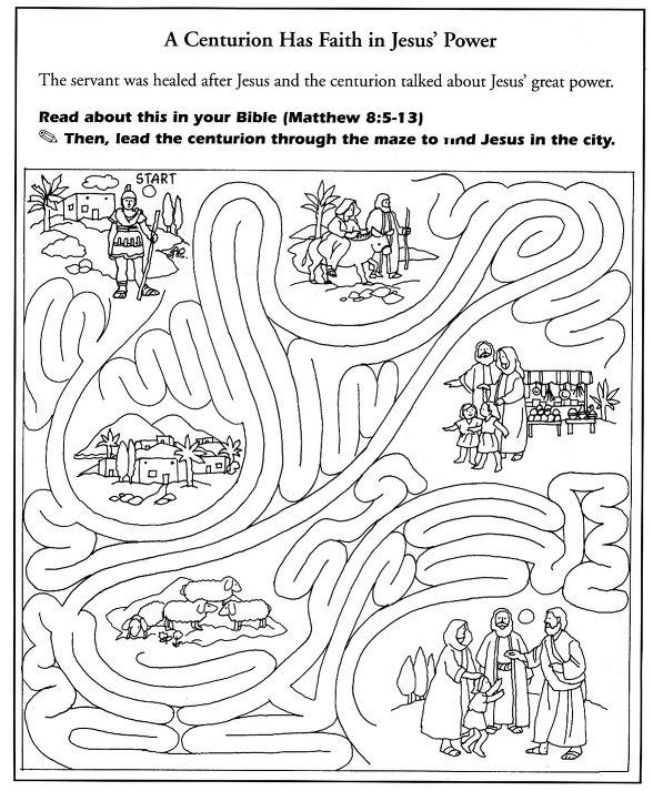 Jesus heal centurion's servant coloring 백부장의 아들 고치심