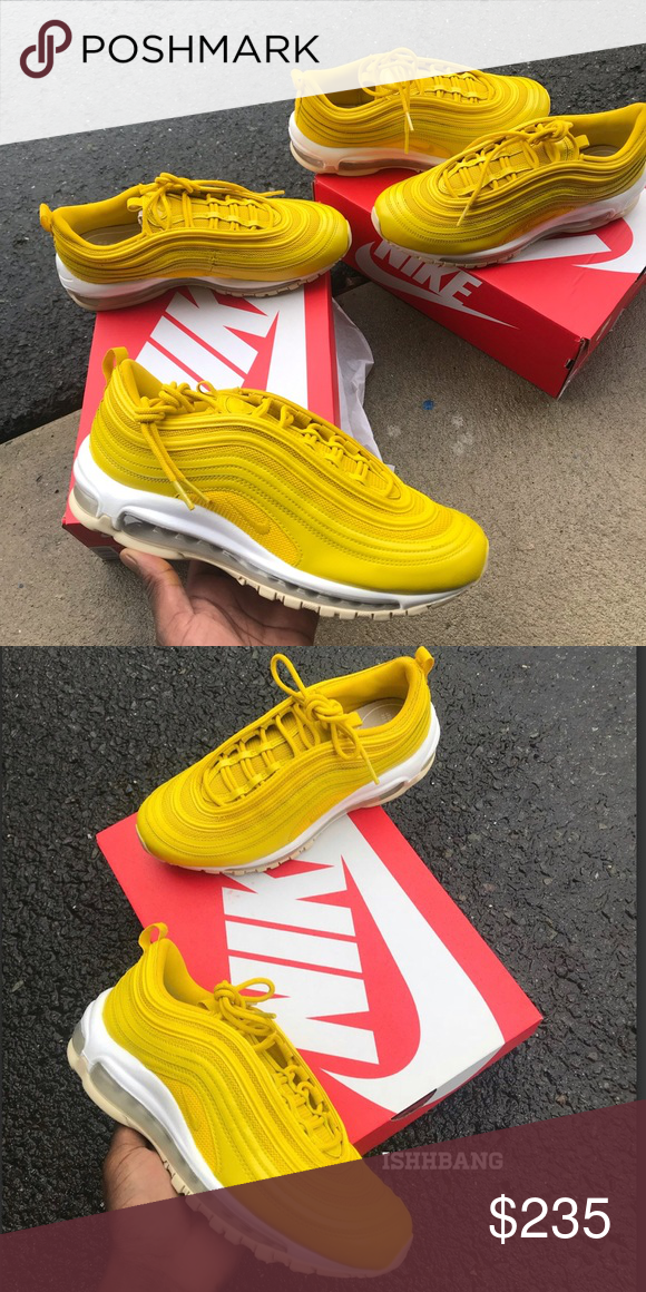 buy popular fbefd 0cc79 Yellow Air Max 97s Customized Nike Custom • Customized Yellow Air Max 97s  Custom • Size