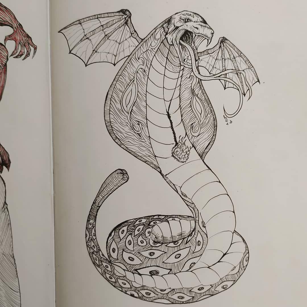 ✓Winged Fire Cobra . . #gidihaokip #instaart #drawing #tattoo
