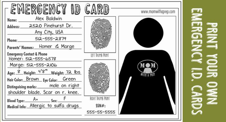 Free Child Id Card Template Awesome Emergency Id Cards Free Download Mom With A Prep Emergency Kit Emergency Id Card Template