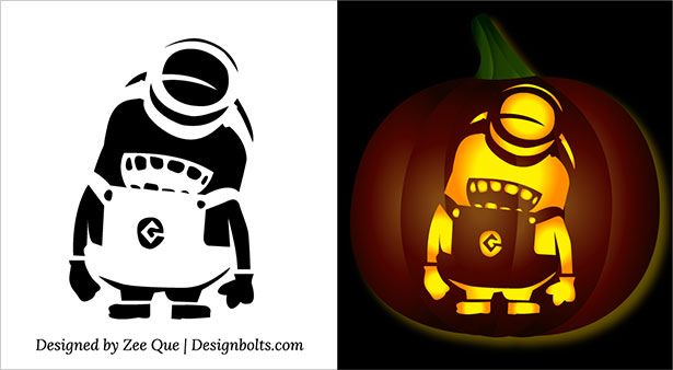 Free halloween minion pumpkin carving stencils patterns