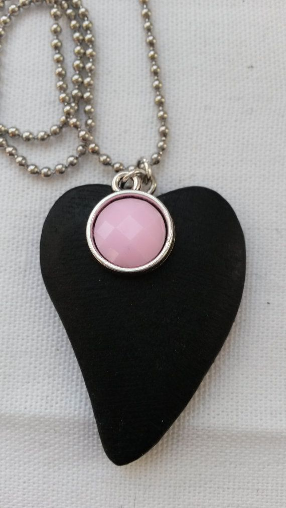 Ball chain necklace with a black wooden heart pendant and pink ... 083d1833c