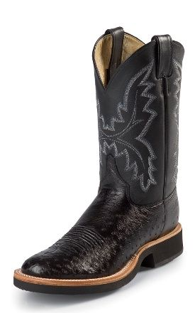 Justin Boots  5005 BLACK SMOOTH OSTRICH  7940cfa8111f