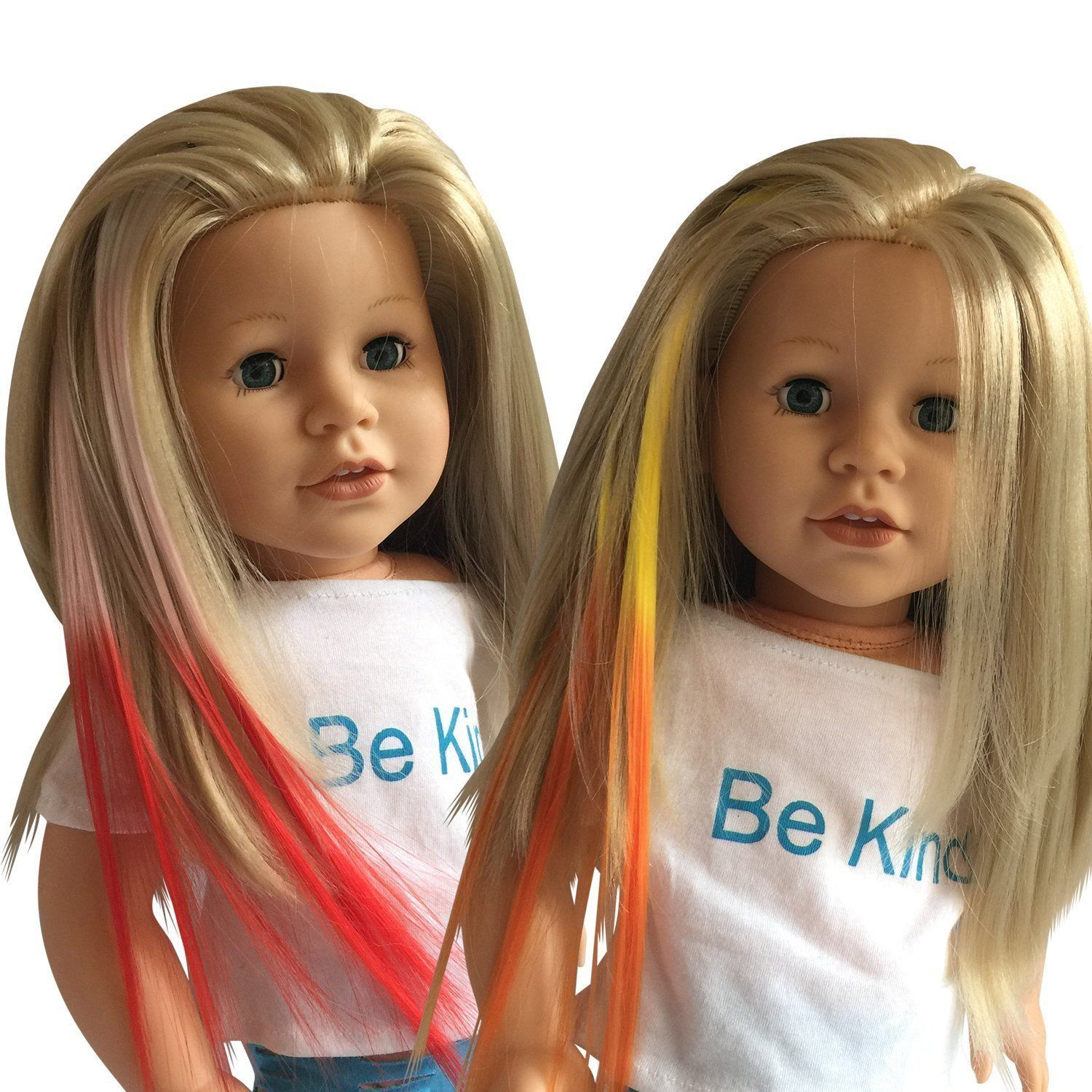 Details About Clip In Hair Extensions Whitepink Yelloworange For