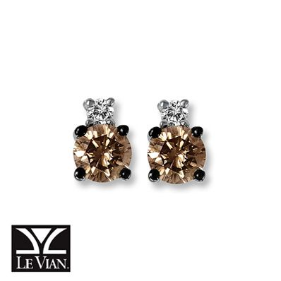 Levian Chocolate Diamonds 1 3 Ct Tw Earrings 14k Vanilla Gold