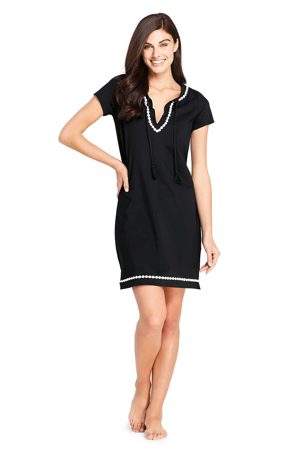 a7b845efdd4d9 Women s Embroidered Swim Cover-up Notch Neck Dress with UV Protection from  Lands  End