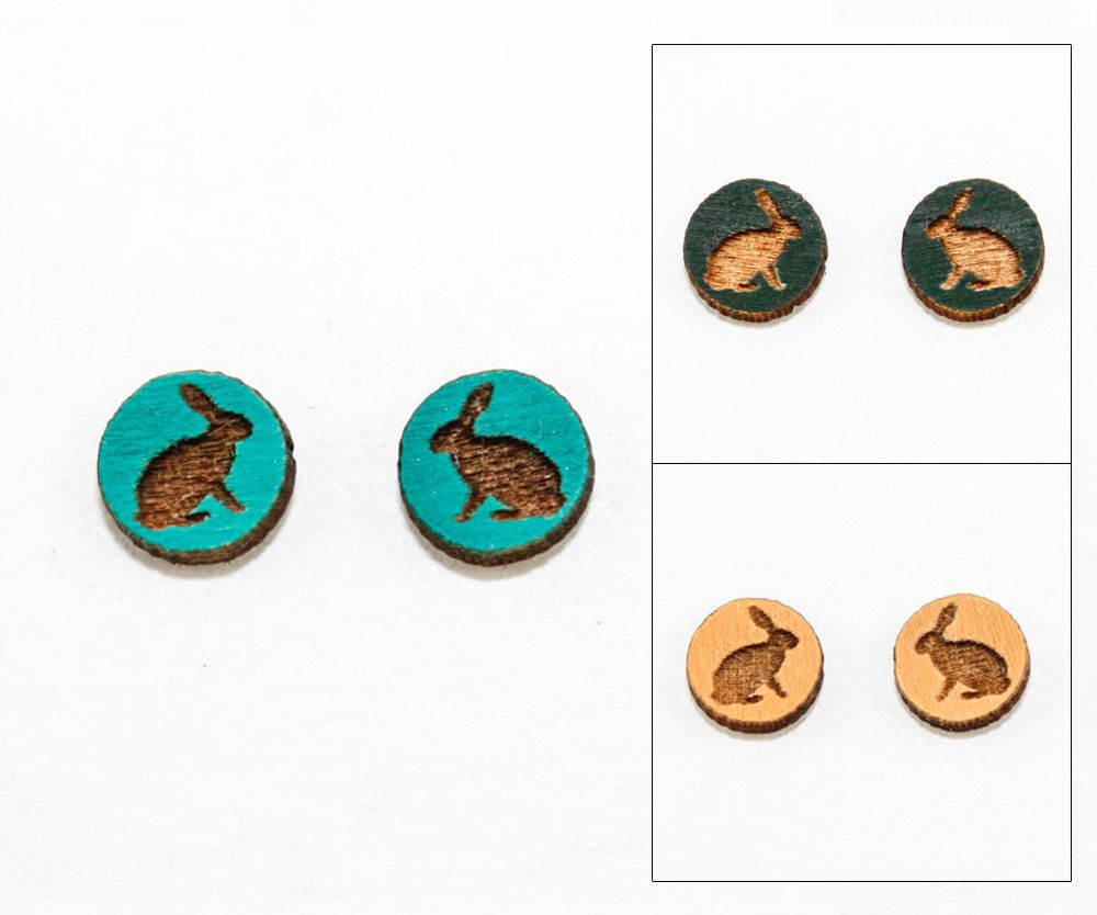 Bunny Earrings - Laser Cut Wooden Studs (Choose Your Color)
