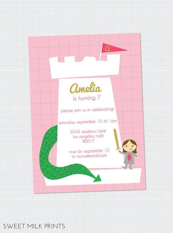 Castle Dragon Children's Birthday Invitation by SweetMilkPrints, $13.00