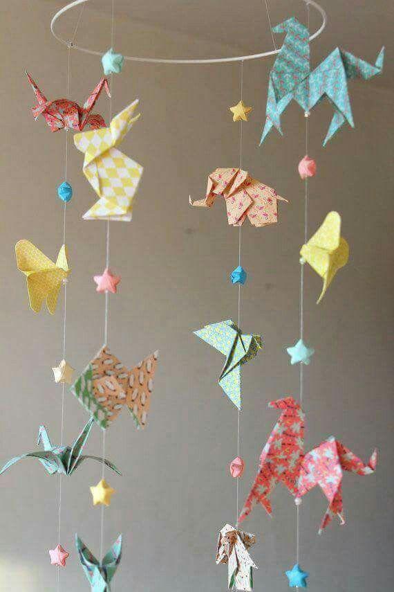 Origami mobile DIY paper craft mobile Origami animals ...